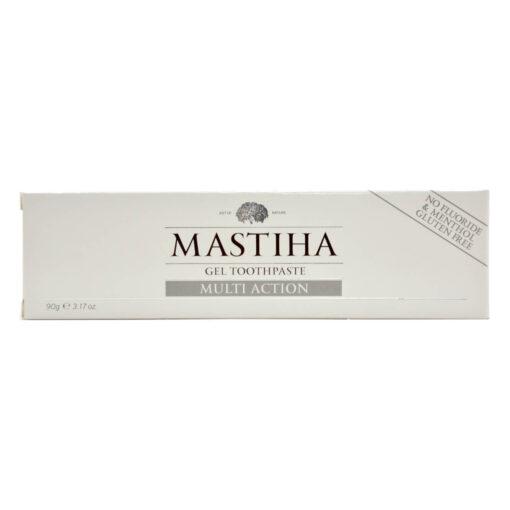 Slika prikazuje produkt Mastike, zobno pasto v škatli od sprednje strani.