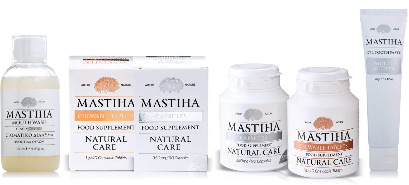 Slika prikazuje različne izdelke Mastiha, ki vsebujejo mastikino smolo.
