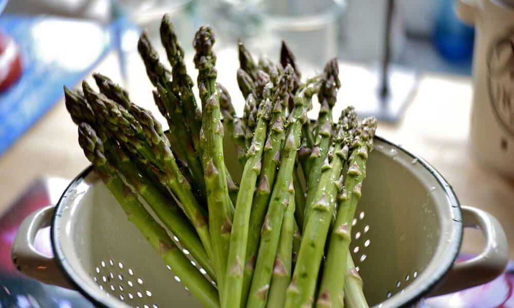 Na sliki so vidni zdravi zeleni špargli, za članek Refluks lahko odpravimo na naravni način z Mastiko oz Mastiho.